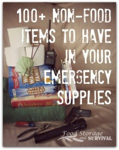 List of non-food items for emergency supplies